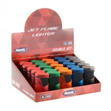 Atomic Electronic Lighter Double Jetflame Refillable Rubber Frosty Assorted 25pz