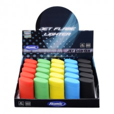 Atomic Electronic Lighter Blue Jetflame Refillable 5 x Rubber Assorted 25pz